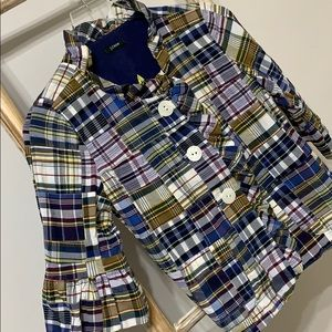J CREW | fits like XSP | madras crop jacket topper